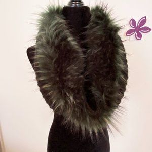 Neck Warmer Black with Dark Turquoise Faux Fur